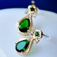 Women's wedding Mu Xia Crystal Earrings personality temperament female Korean lovely rose gold ear jewelry Pipa Vintage Jewelry