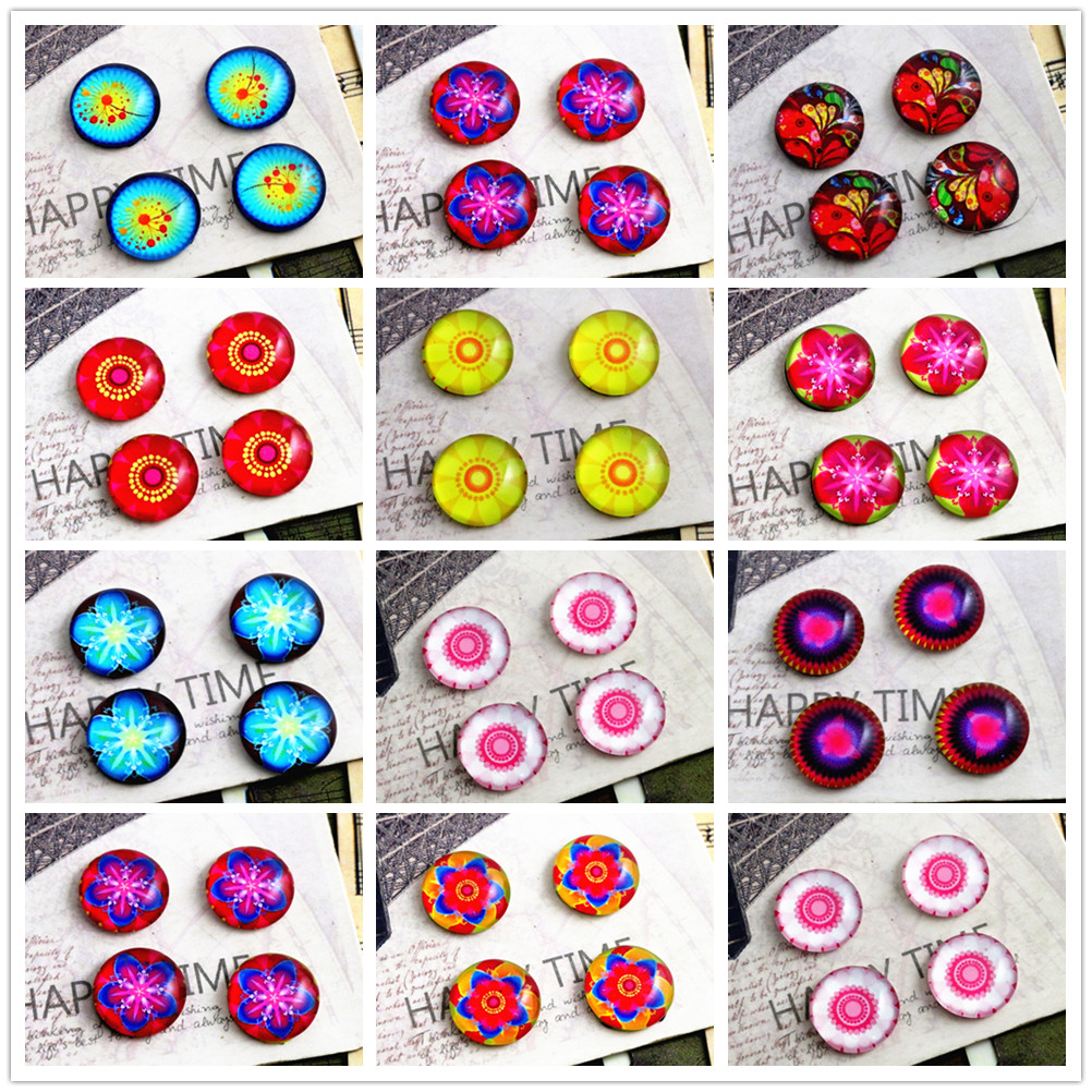 New Fashion  20pcs 12mm 10 Style Handmade Photo Glass Cabochons