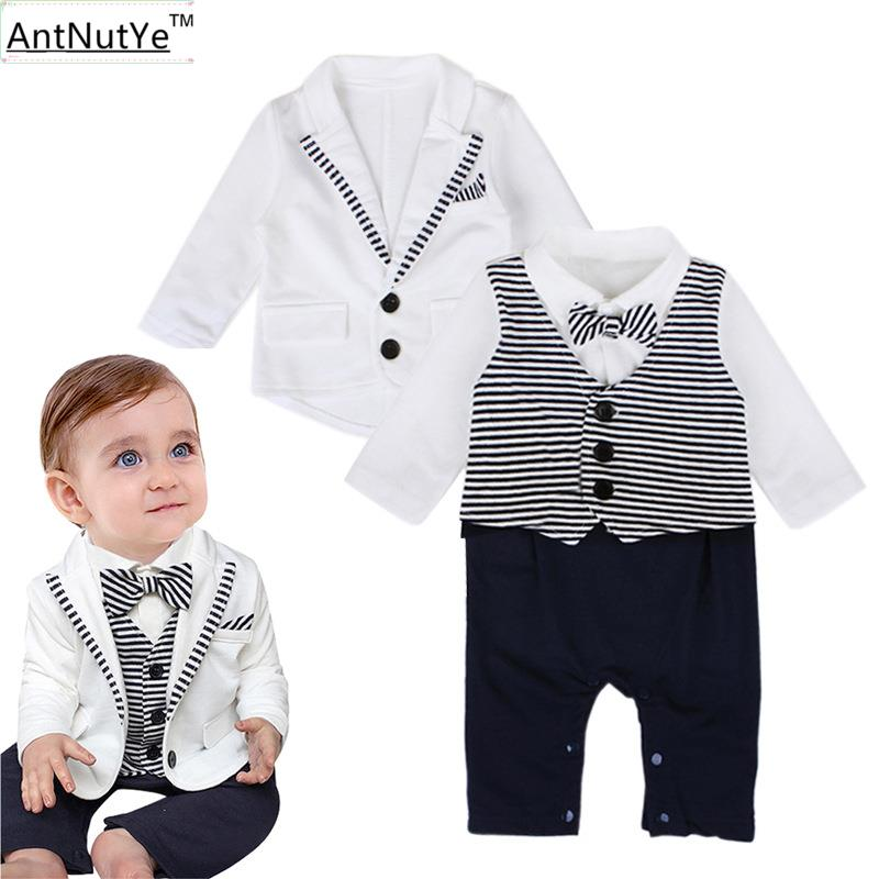 Formal Baby Rompers Jackets 2pcs Newborn Boys Suits