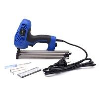 Quadro elétrico agrafador agrafador arma fx30 bisel electric nailer gun com 600 peças unhas para móveis de madeira