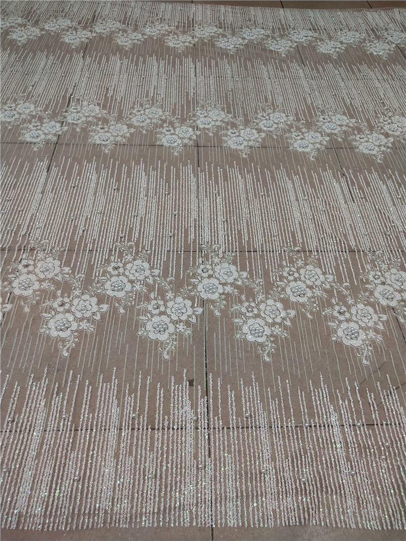 Nice deisgn white Good looking tulle lace with beads glued glitter fashion H-181060 glitter lace fabric for party dress