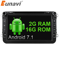 Eunavi 2G RAM 8 Inch Quad Core Android 7 1 2 Din Car DVD For VW