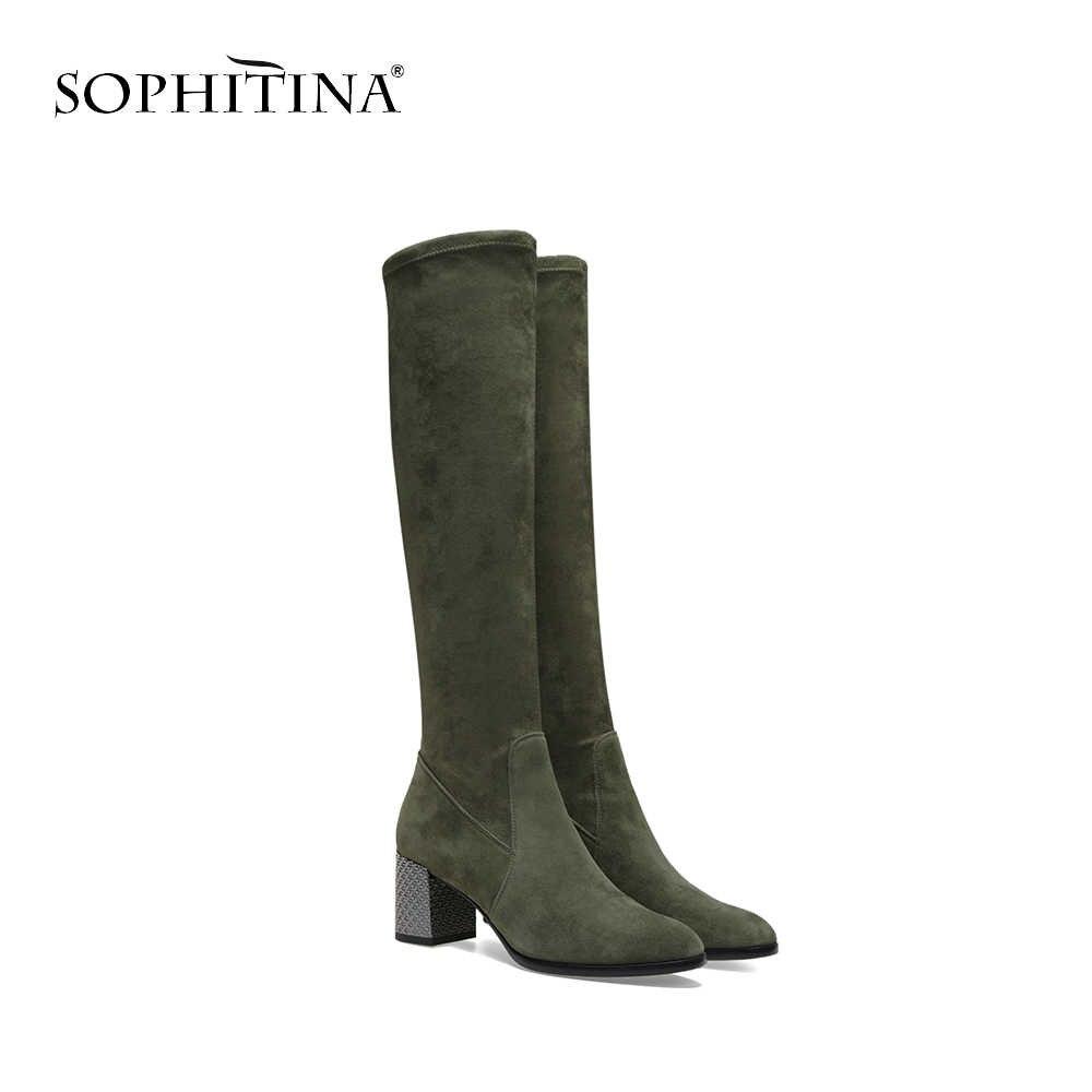 SOPHITINA 2019 Yeni Çocuk Süet Çizmeler Over-the-diz Slip-On Yuvarlak Ayak Yüksek Kare Topuk Ayakkabı moda El Yapımı Kadın Botları B71