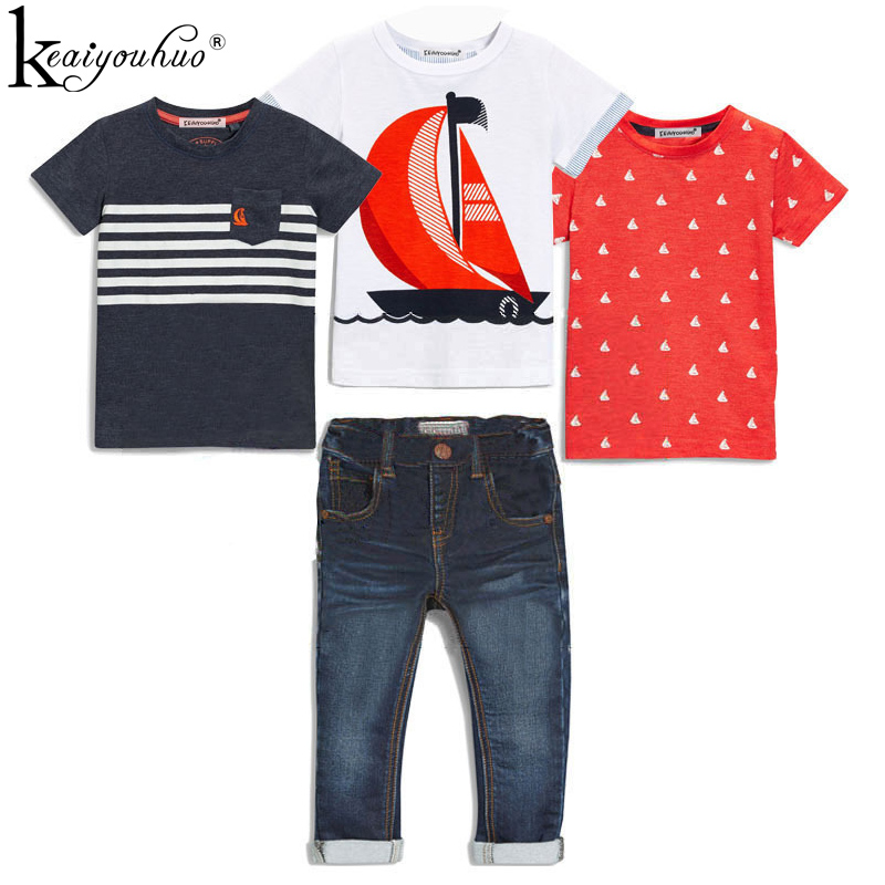 e7aa46e9b7211 High Qulity 4Pcs Boys Clothes Sets Summer Children Clothing Baby Boy Sport  Suit T-shirt+Jeans Costume For Kids 2 3 4 5 6 7 Years