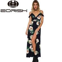 2017 Ruffles Spaghetti Strap Max Dress With Lining Backless Printing Bohemian Dresses Lady V-neck Front Split  Vestidos Feminas