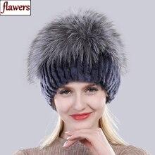 İyi elastik doğal kabarık gümüş tilki kürk şapka yeni kış kadın örme gerçek Rex tavşan kürk şapka Lady gerçek kürk kap toptan