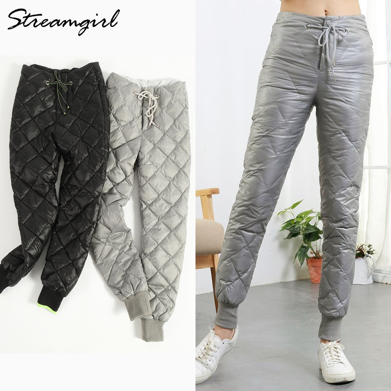 Streamgirl Winter Duck Down Pants Women Trousers High Waisted Warm High Waist Women Pants Winter Plus Size Trousers Female