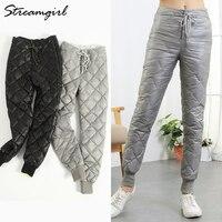 Streamgirl Winter Duck Down Pants Women Trousers High Waisted Warm High Waist Women Pants Winter 2018 Plus Size Trousers Female