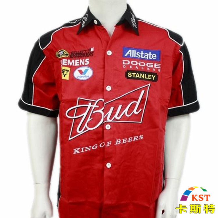 NEW 2018 brand budweiser F1 summer clothes fleet club team car clothes karting drift original single machine car overalls