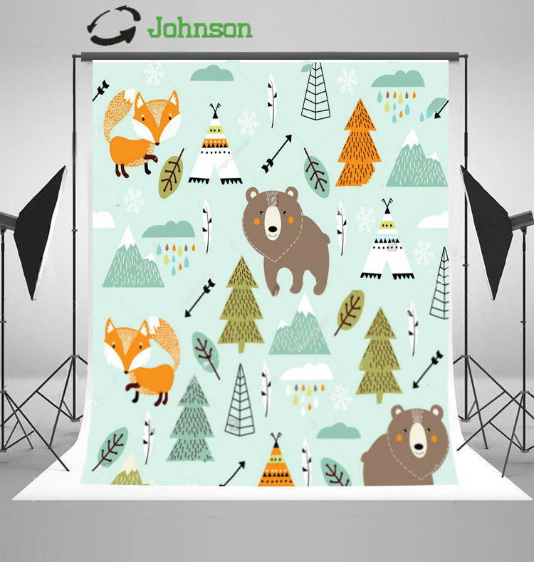 Animals Fox Bear Wigwam Mountains Tree Clouds Blue photo backdrop polyester or Vinyl cloth Computer print wall Background