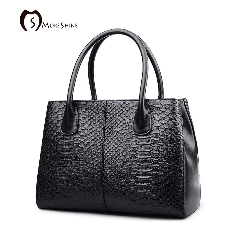 MORESHINE brand Genuine cow leather handbags for women Designer Serpentine shopping bag Female big crossbody bags tote bolsas