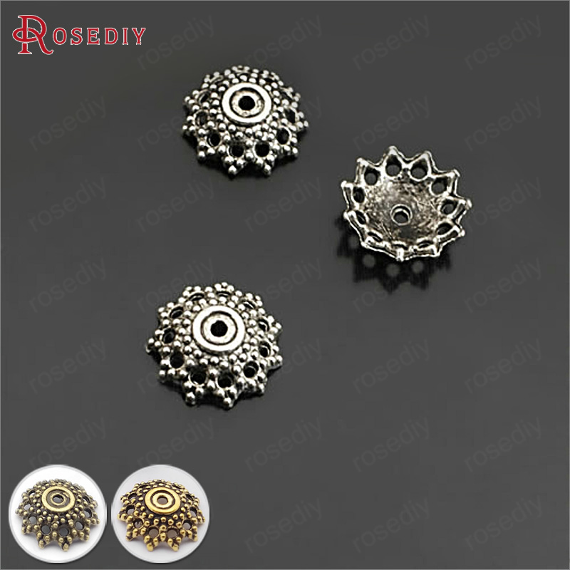 (26929)100PCS 12MM Antique Silver Zinc Alloy Bead Caps Diy Jewelry Findings Accessories Wholesale