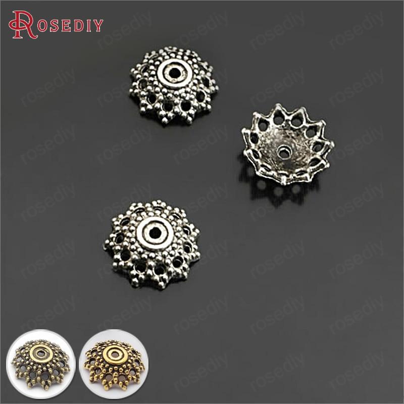 (26929)100PCS 12MM Antique Silver Zinc Alloy Bead Caps Diy Jewelry Findings Accessories Wholesale