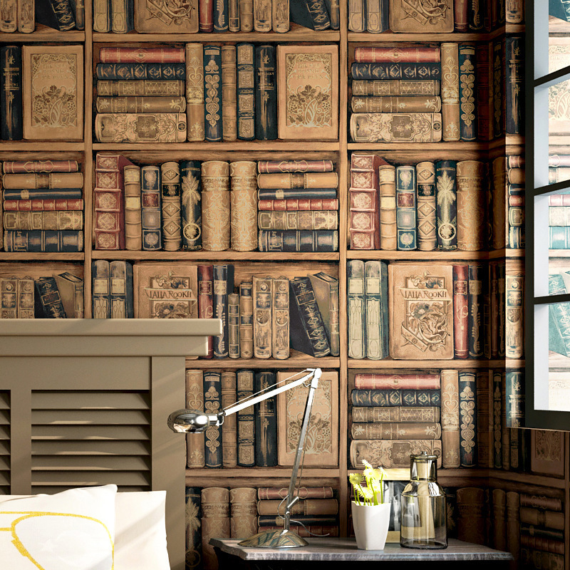 Imitation Bookshelf wallpaper Background wall paper 3d American country retro vintage study room TV wall paper PVC stickers in Wall Stickers from Home Garden