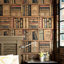 Imitation Bookshelf wallpaper Background wall paper 3d American country retro vintage study room TV PVC stickers