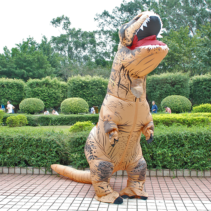 Inflatable Costume Adult Kids Dinosaur T REX Costumes Blow Up Fancy Dress Mascot Cosplay Costume For Men Women Dino Cartoon(China)