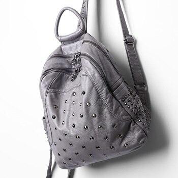 new arrival soft leather women backpack washed female bag rivet fashion travel big teen schoolbag hot sale
