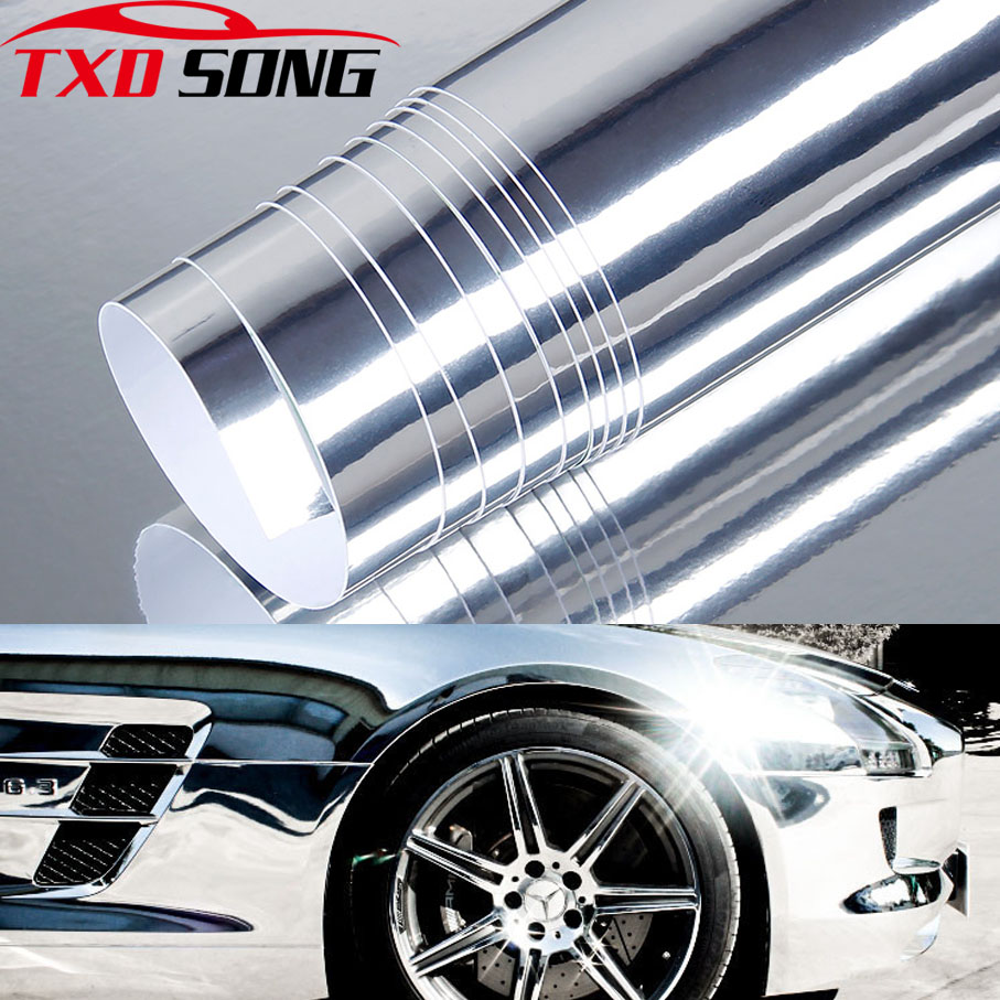 Image 1 - Premium High stretchable mirror silver Chrome Mirror flexible Vinyl Wrap Sheet Roll Film chrome mirror vinyl sticker-in Car Stickers from Automobiles & Motorcycles