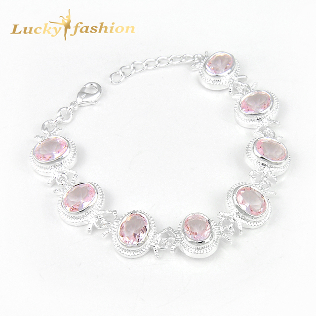 Hochzeitsgeschenk 8x Oval Rosa Erstellt Stein Armband Russland
