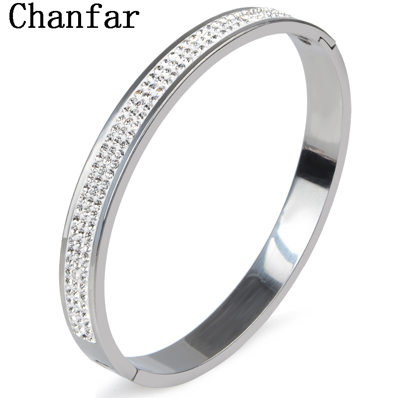 Chanfar 11 Colors Fashion Crystal Paved Stainless Steel Bangle Opened Cuff Bangle For Women Lover's Gift Jewelry