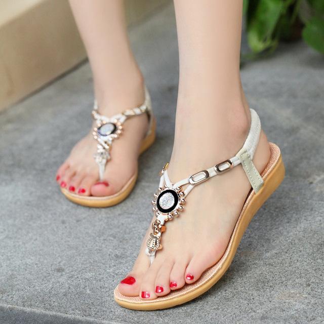 Women Sandals Ankle-strap Shoes Women Summer Flip Flops Red Ring Bohemia Style Sandalias