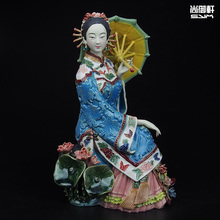Shiwan doll master of fine ladies modern Chinese characters decoration washeng intoxicating handmade ceramic crafts