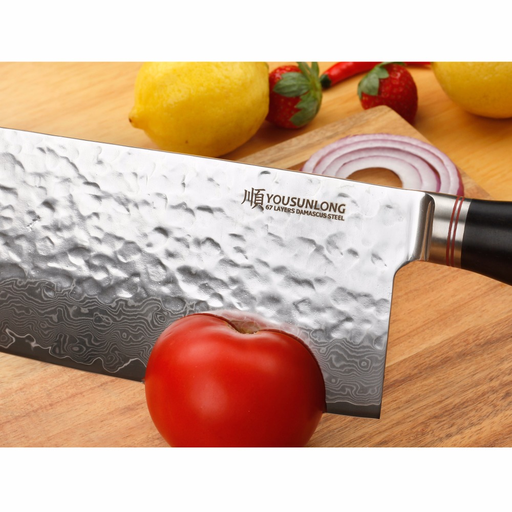 YOUSUNLONG Damascus 7 inch Home Chinese Chef Knife Japanese knife VG10 High Carbon Stainless Steel kitchen knife Ebony handle in Kitchen Knives from Home Garden
