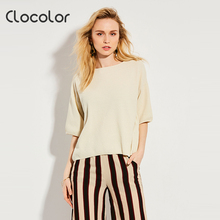 Clocolor Для женщин блузка Новинка 2017 года дешевые Половина рукава Свободные О-образным вырезом Асимметричный Повседневное Стиль летние желтые блузка Для женщин блузка