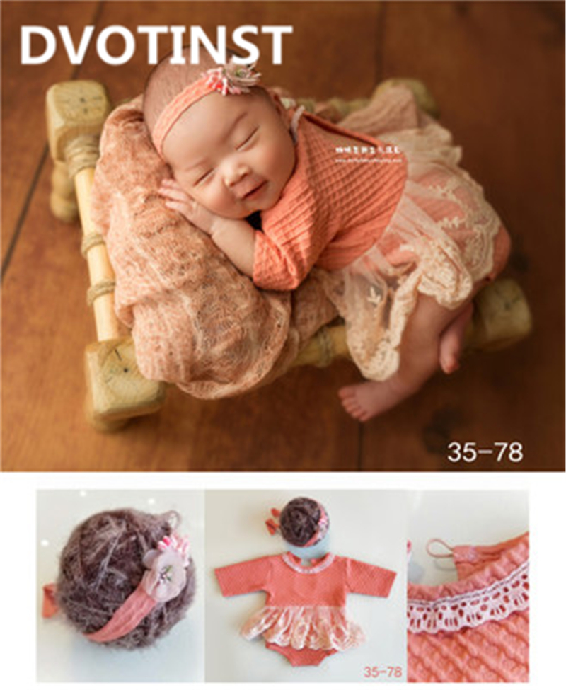 Dvotinst Newborn Baby Photography Clothes Props Fotografia Headwear+Bodysuit 2pcs Set Cosplay Costume Studio Shooting Photo Prop