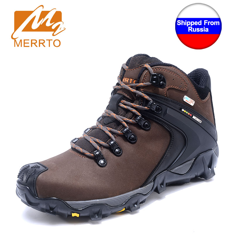 MERRTO Winter Man Waterproof Hiking Shoes For Male Sneakers Breathable Men Trekking Walking Shoes Genuine Leather Mountain Boots yin qi shi man winter outdoor shoes hiking camping trip high top hiking boots cow leather durable female plush warm outdoor boot
