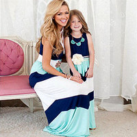 2016 Summer Style Family Matching Outfits Mother Daughter Dresses Contrast Color Blue A Line Dress Ankle