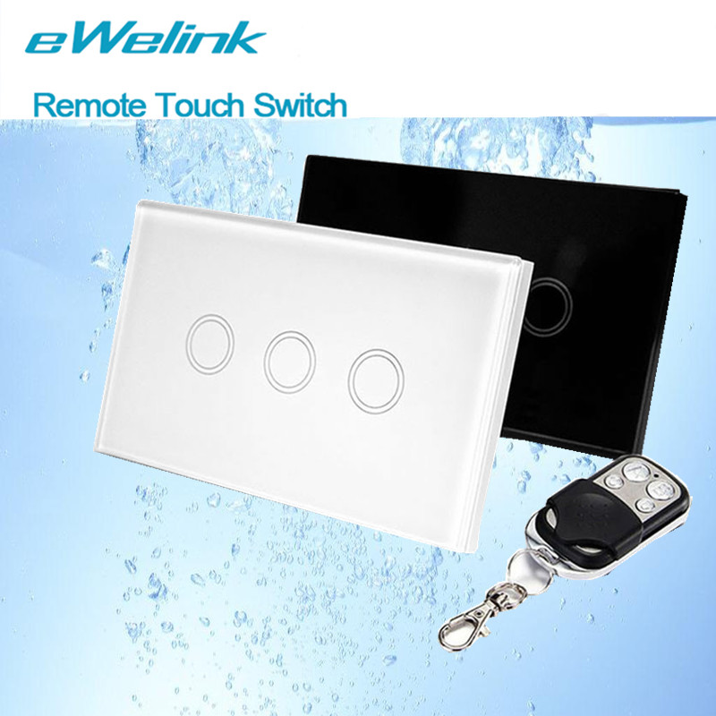 eWelink US Standard 3 Gang 1 Way Wall Touch Switch,RF433 Smart home Light Switch, Wireless Remote Control Switches+LED backlight smart home eu touch switch wireless remote control wall touch switch 3 gang 1 way white crystal glass panel waterproof power