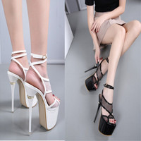 2018 Night New Women's Shoes 17cm Hate Sky High 16cm Super High Heels Hollow Mesh Stage Sandals White