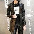 Мода Кожа Pu Мужские Кожаные Пиджаки Куртка Пальто Slim Fit Длинные Кожаные Пальто jaqueta де couro factory-direct-одежда