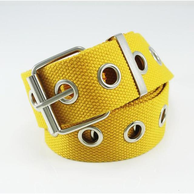 Hot Ladies cinturón rojo para Jeans Pin hebilla lona cinturones blancos mujeres amarillo Lengthen Strap hombres Casual Nylon Waistband 130 cm