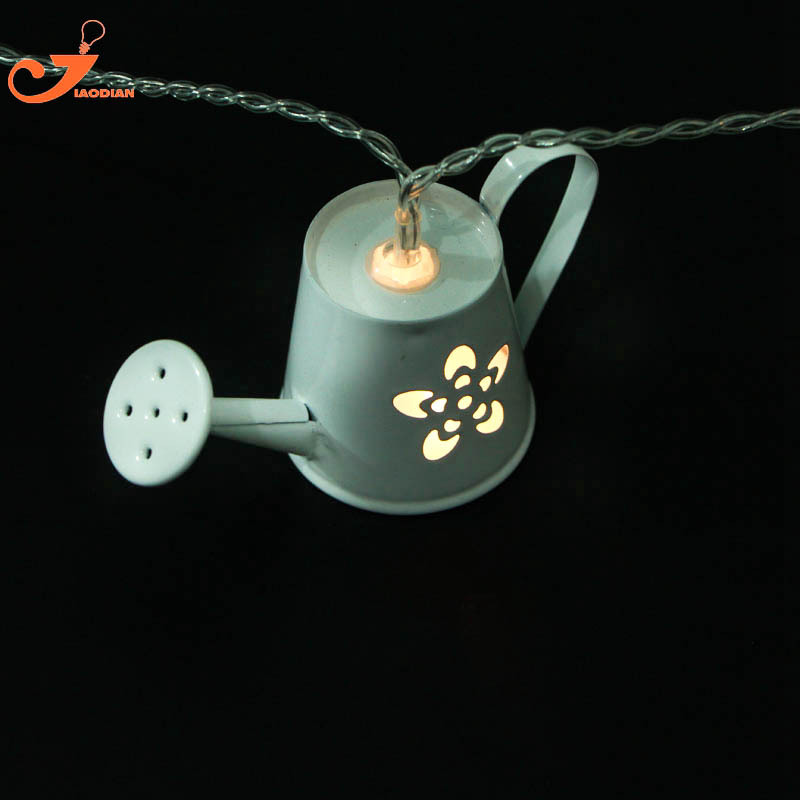 10 LEDs Stainless Steel Teapot Watering Can Shape String Light for Outdoor Christmas Child Kids Bedroom Lights New Year Decor