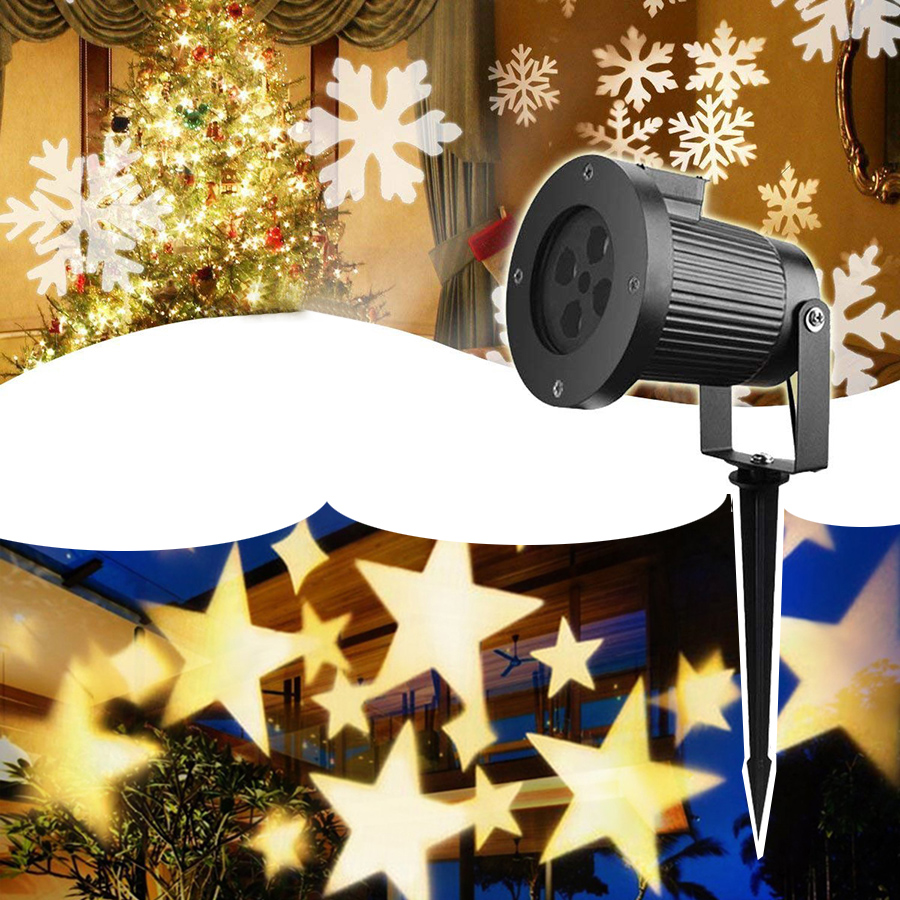 цена Thrisdar Outdoor Snowflake Star LED Stage Light Home Garden Landscape Christmas Projector Lamps Star Snowfall LED Spotlight онлайн в 2017 году