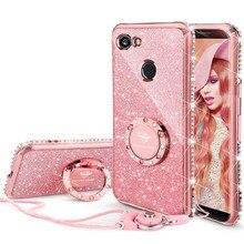 For Google pixel 2Xl case Luxury 360 Degree Metal Ring kickstand phone housing Diamond bling Glitter purple soft Slim 18:9 inch