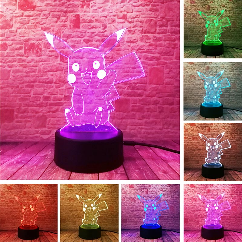 3D Illusion LED NightLight Colourful Flash Light Glow in the Dark Nigh Desk Lamp Pikachu ...