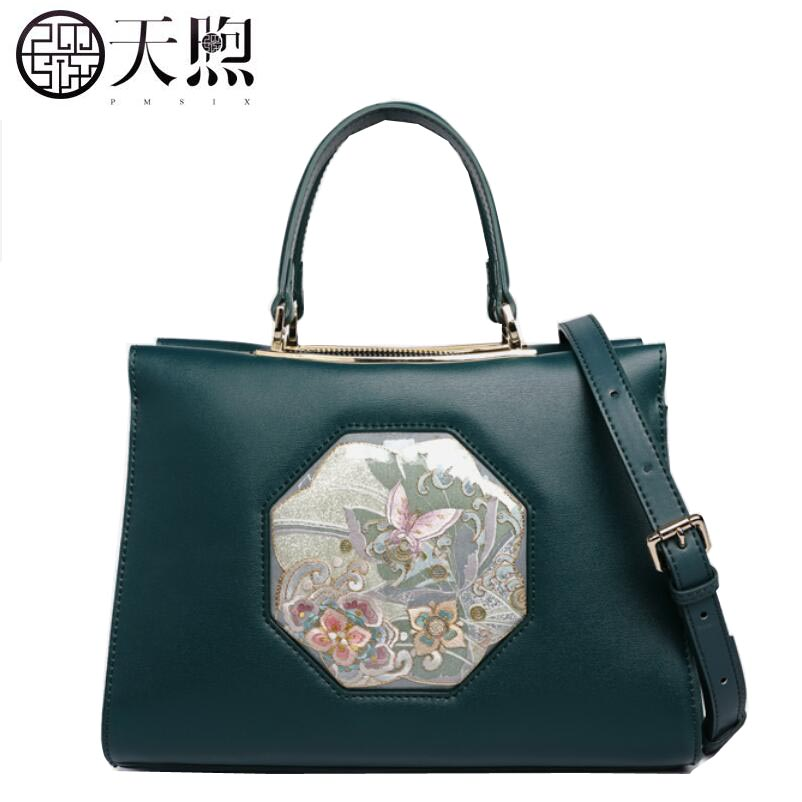 Famous brand top quality Cow Leather women bag 2018 new handmade Chinese style embroidered leather handbags Killer package