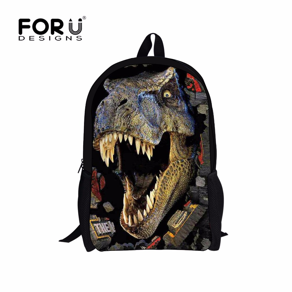FORUDESIGNS 3D Zoo Animal School Bags for Boys Cool Dinosaur Tiger Horse Owl Schoolbag Child Bookbag