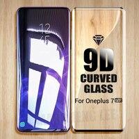 Protector de pantalla de vidrio templado curvo 9D para Oneplus 7 Pro, cubierta completa para oneplus 7 pro, película protectora de vidrio