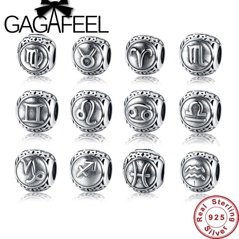 GAGAFEEL Vintage 925 Sterling Silver Aquarius Star Sign Zodiac Beads Charms fit Bracelets DIY Twelve Constellations Jewelry Make