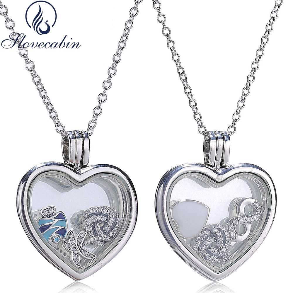 cb84610e0a5 Detail Feedback Questions about Slovecabin 2017 Summer Collection 925 Sterling  Silver Heart Floating Locket Pendant Silver Memories Ocean Necklace For  Women ...