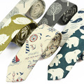 6cm Mens narrow Casual Cotton and linen skinny ties Slim Fashion Cartoon animal Wahle bear tree Sailing pattern party Neckties