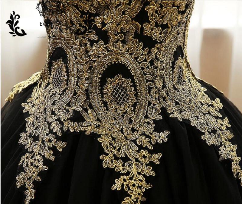 New Elegant Ball Gown Prom Dresses Long Gold Lace Applique Black Tulle  Corset Evening Party Dress vestido de festa 3b607e848cc0