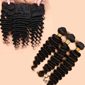Ear To Ear Lace Frontal Closure With Bundles Brazilian Virgin Hair Deep Wave With Closure Human Hair Lace Frontal With Baby Hair