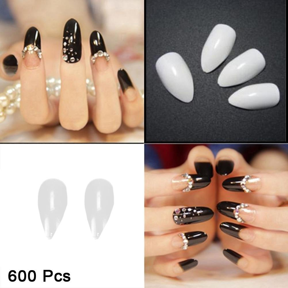 600pcs/pack Beauty Pointy Stiletto Natural Nail Tips Salon Full ...
