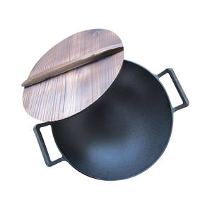 ZITING Cover Cookware Wok Cast-Iron Non-Stick Chinese with Wood-Pot 36cm Vegetable Fry
