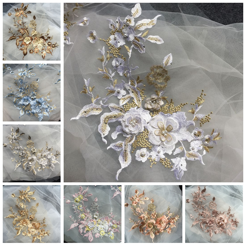Dress Pearl Beaded Decor Embroidery Lace Patches Sewing Flowers Applique
